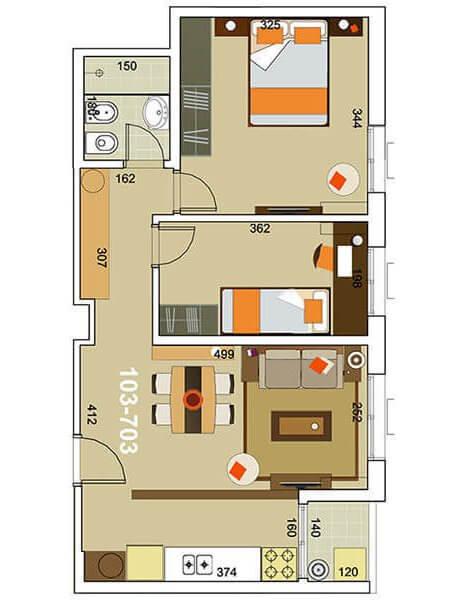 torre modelo 2 dormitorios