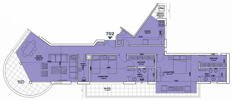 Birdie Golf 2 dormitorios 702