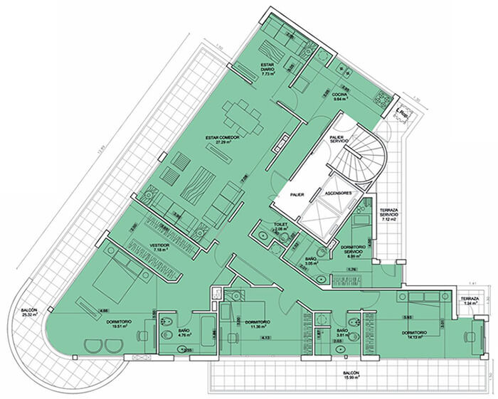 Birdie Golf 3 dormitorios penthouse 1101