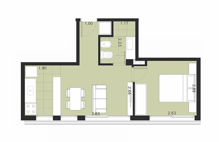 Aquum 1 dormitorio