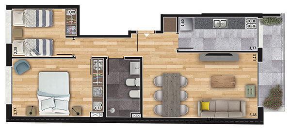 espacio soho 2 dormitorios 302 a 702