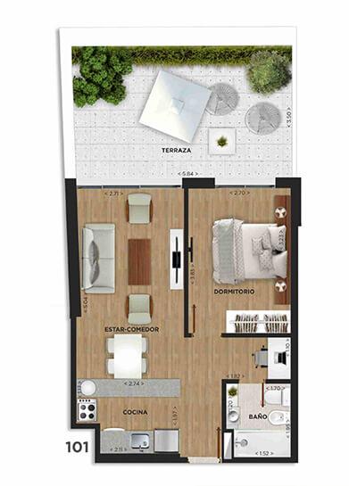 Domini Rivera y Salterain plano 1 dormitorio patio