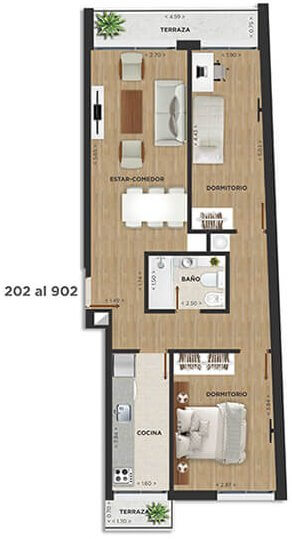 Domini Rivera y Salterain plano 2 dormitorios