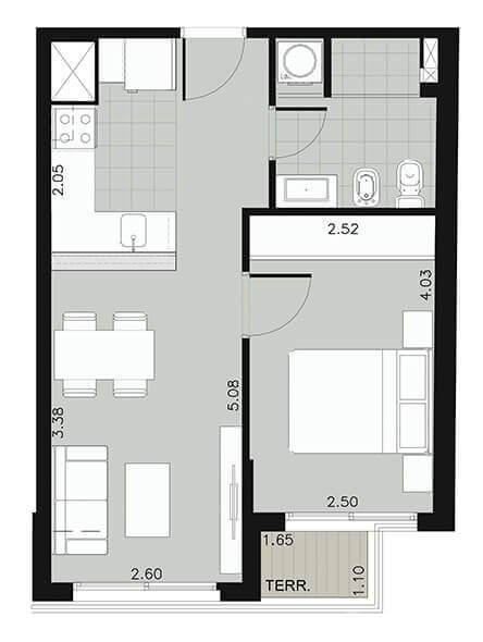 Edificio Ná Pali - Plano 1 dormitorio unidad 01