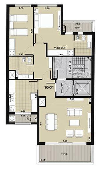 Edificio Ná Pali - Plano 2 dormitorios unidad 1001