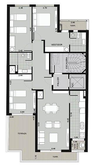 Edificio Ná Pali - Plano 3 dormitorios unidad 901