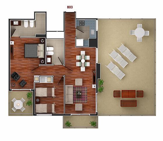 Vista Carretas - Plano 2 dormitorios unidad 803