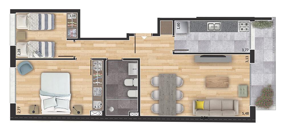 Espacio Soho 2 dormitorios 01