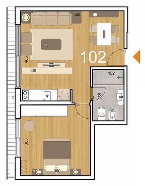 Initium Plano 1 dormitorio 102