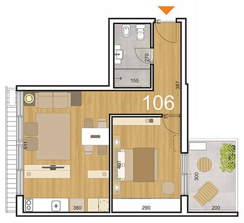 Plano Initium 1 dormitorio con patio 106