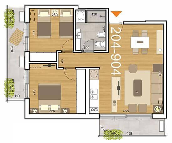 Plano Initium 2 dormitorios 204-904