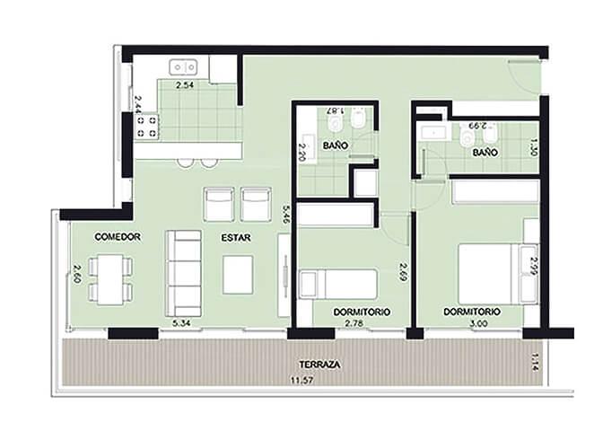 Aquum 2 dormitorios en pocitos
