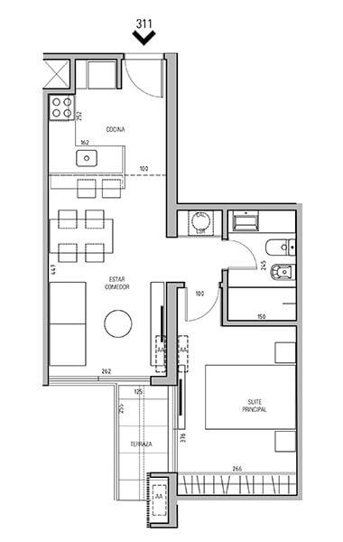 More Echevarriarza - Plano 1 dormitorio Unidad 311