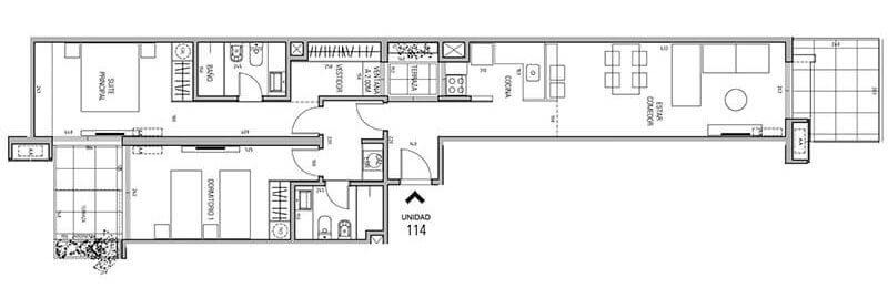 More Echevarriarza - Plano 2 dormitorios Unidad 114
