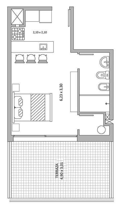 Quadra Centrum - Plano de 1 ambiente Unidad 1002