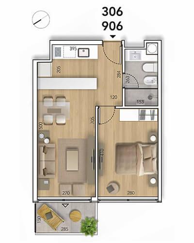 Lyra Plano 1 Dormitorio 06