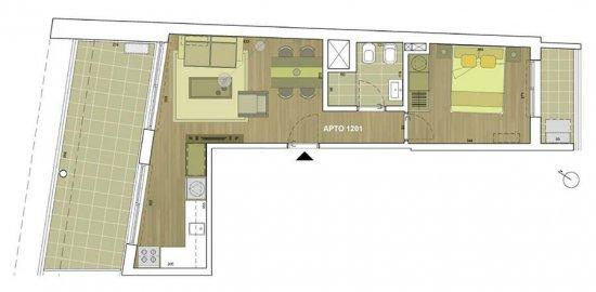 Thays plano 1 dormitorio 1201