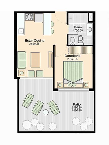 L+ 1 dormitorio 104