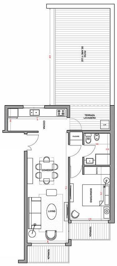 Alquimia - Plano 1 dormitorio con patio 205
