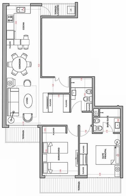 Alquimia - Plano 2 dormitorios 301