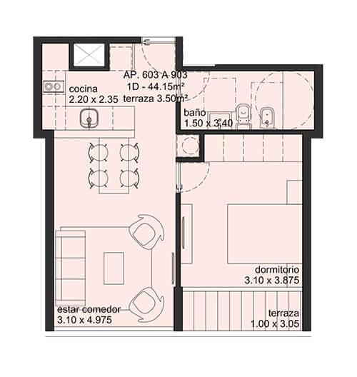City Blanes 1 dormitorio 03