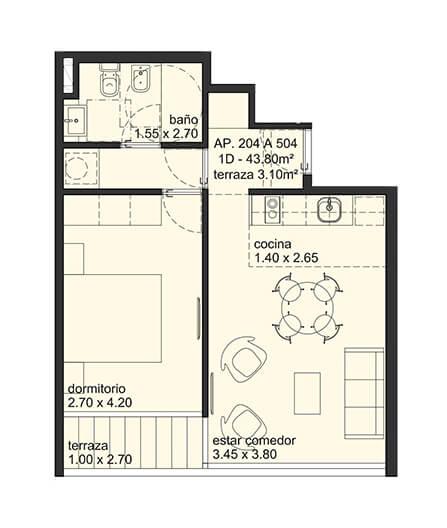 City Blanes 1 dormitorio 04