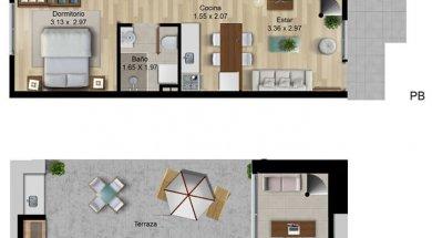 Verde Prado 1 dormitorio dúplex