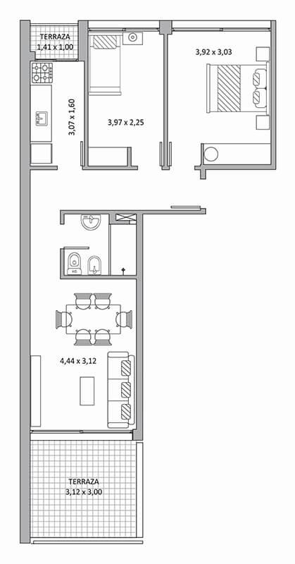 Quadra Centrum - Plano de 2 dormitorios Unidad 1001