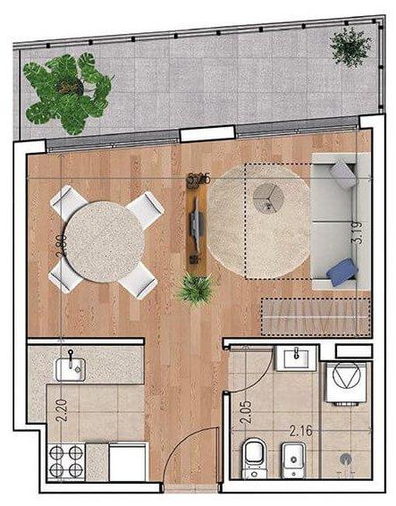 Ventura 810 plano monoambiente unidad 703