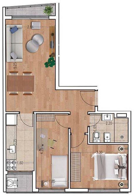 Ventura 810 plano 2 dormitorios unidad 01