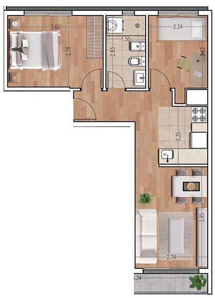 Ventura 810 plano 2 dormitorios unidad 05