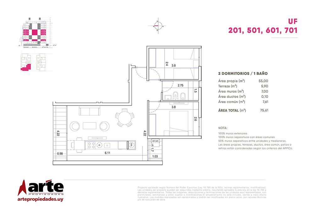 Cero Uno del Centro 2 dormitorios 201