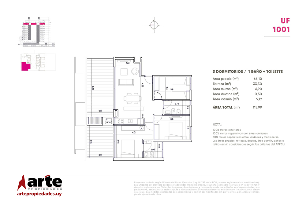 Cero Uno del Centro Penthouse 3 dormitorios 1001