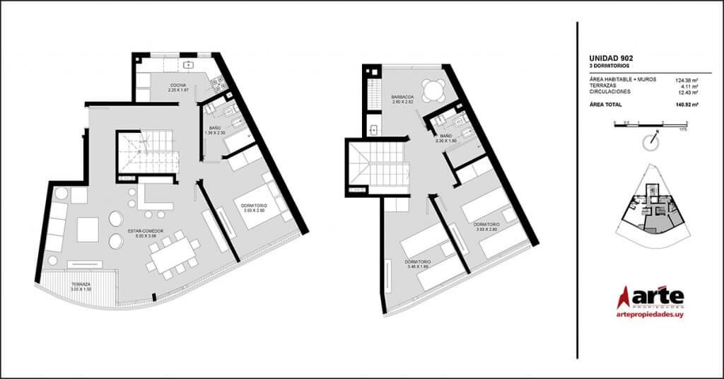 Pocitos Plaza 3 dormitorios 902