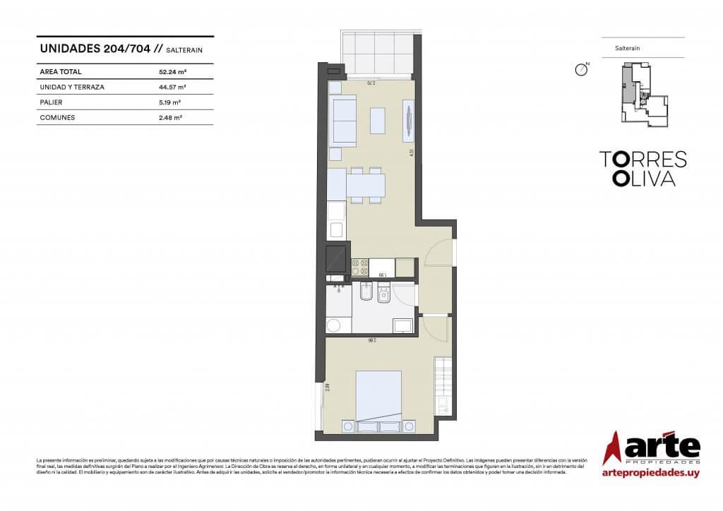 Torres Oliva 1 dormitorio 204 a 704