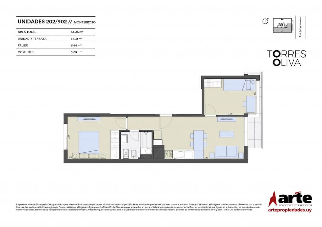 Torres Oliva 2 dormitorios 202 a 902